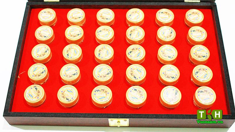 Đông Trùng Hạ Thảo Hàn Quốc Hộp Gỗ Loại 30 Viên Mẫu Mới bên trong hộp